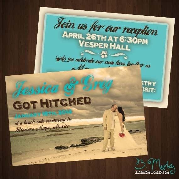 Reception After Destination Wedding Invitation: Got Hitched: Destination Wedding Home Reception Invitation