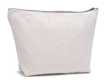 Cream Canvas Cosmetic Bag, White Canvas Toiletry Bag, Canvas Zipper Pouch, Canvas Storage Bag