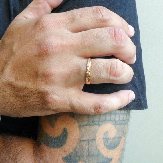 Rustic Wedding Ring For Men And Women Thin Gold Wedding Band