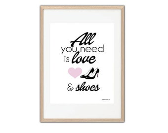 Print black and pink all you need is love and shoes closet