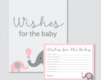 Wishes for Baby Baby Shower Activity Elephant Baby Shower Well Wishes for Baby Cards and Sign - Printable Instant Download - 0024-P