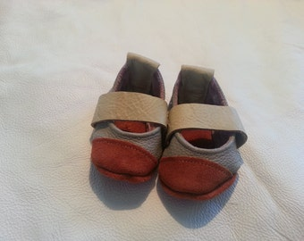 Leather Baby Booties - Buckskin/Gray - Sz 1