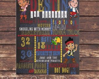 Custom Jake and the Neverland Pirates Printable Birthday Chalkboard