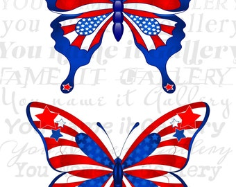 Instant Download- USA Symbols-Butterflies-USA Flags-White-Red-Blue-American Symbols-USA Butterflies-Printable Sheet- Image Transfer- No.141