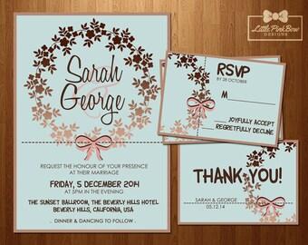 Mint Rose Gold Wedding Invitation, RSVP, Thank You set, Printable Mint Wedding Invitation Suite, Wedding Invitation Printable Set