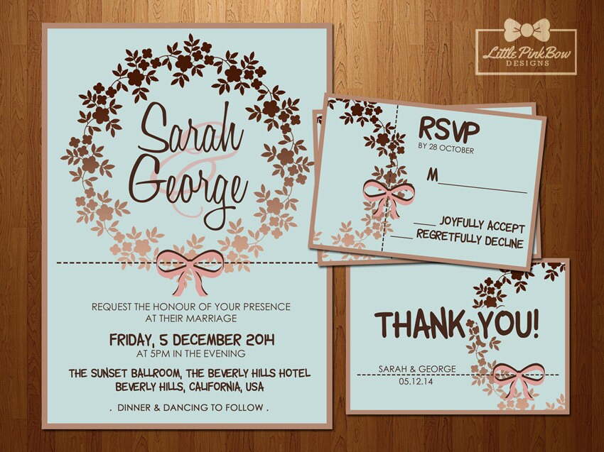 zoom - Mint And Gold Wedding Invitations