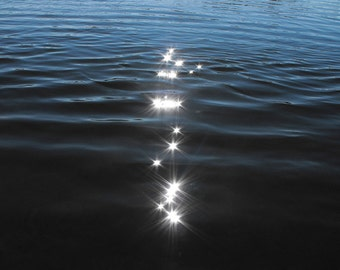 Sparkles on the Water - Abstract Photo - Minimal Print in Shades of Blue