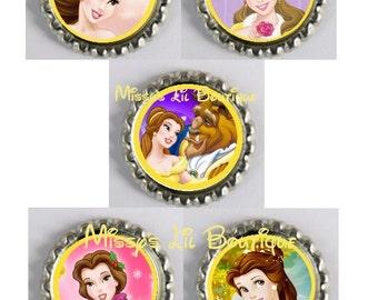 5 Princess Belle Inspired Finished Bottle Caps