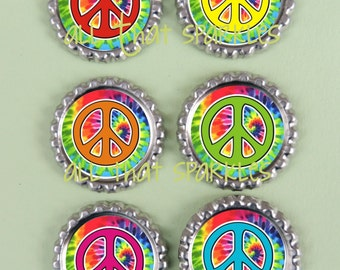 6 Groovy Peace Sign Inspired Finished Bottle Caps