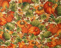Harvest Fabric With Squash Leaves and Berries