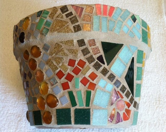 MOSAIC POT!  .Garden Path twists and turns in varied colors:  9 inches across,  6 inches high. FUN!