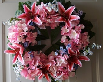 Wreaths,Spring wreath Pink Lilies Wreaths, Hydrangea Wreath,Summer and Fall-Wreath made with Pink Hydrangea Lilies and Blue Wildflowers