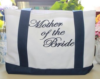 Personalized Mother of the Bride tote bag with CUSTOM EMBROIDERY!