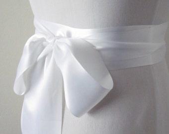 White Ribbon Sash / Double Faced Ribbon Sash / Bridal Sash / Bridal Ribbon /  White