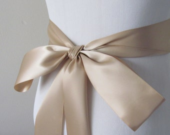 Champagne Ribbon Sash/ Double Faced Ribbon Sash/ Bridal Sash/ Bridal Ribbon/ Champagne