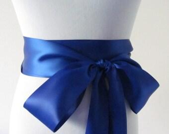 Cobalt Blue Ribbon Sash / Double Faced Ribbon Sash / Bridal Sash / Bridal Ribbon / Cobalt Blue