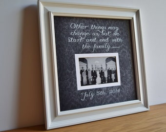 family picture frame personalized frame wooden frame square frame custom quote frame grandparent parent family 15x15