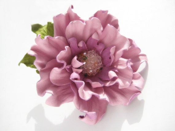 decoration for women leather pink flower hair clip brooch