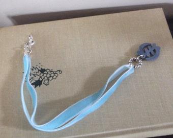 Prayer Links Velvet Blue Chain/ Ghanian Symbol Charm /non-profit...help support a child necklace