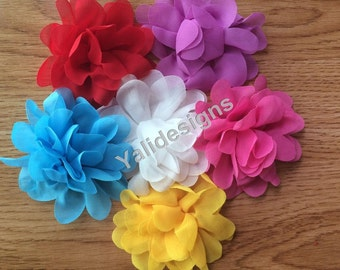10pcs Wholesale 4'' inch Chiffon Scalloped Flower - DIY Headband Accessories- Fabric Flower Mixture Color  YTA27
