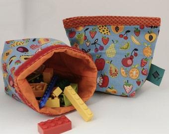 Fruits on blue Cup holder Snack bag