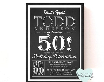 Adult Birthday Party Invitation - Any Ages - Charcoal Black - CUSTOM FONT COLOR -  Printable No.302