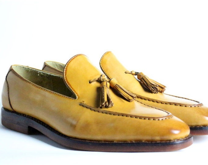 Handmade Goodyear Welted Men's Tasseled Loafers Shoes