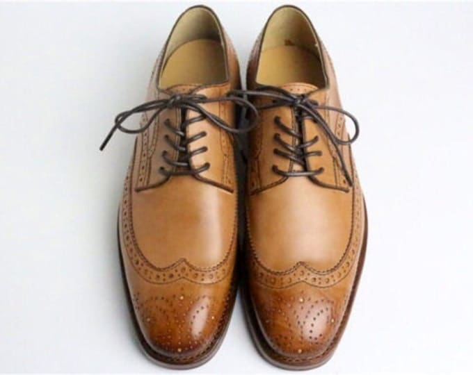 Brogue Men's Dress Shoes,Brown and Brush off,Calfskin Leather,Handmade Goodyear Welted Shoes