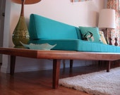 Reserved for Dwight Adrian Pearsall Gondola sofa Vintage 1960s With Original marble end inserts Has a recently made Turquoise cover!