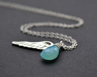 Angel Wing Necklace, Silver Wing and Stone Necklace, Birthstone, Protective Necklace, Lucky Charm Necklace, Silver Gemstone Necklace