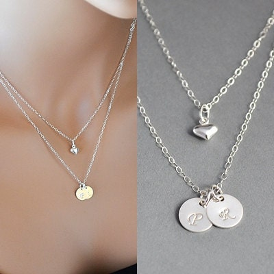 double layered initial necklace two initial disc necklace With layered letter necklace