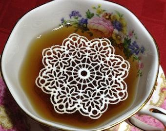 "9 Sugar Doilies 2.5"" Edible Anastasia Doily Tea or Coffee Doilies Wedding Reception Bridal Party Decoration Elegant Food Cake Gift"
