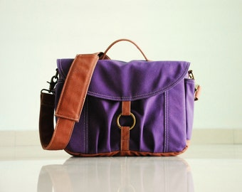 Christmas in July SALE - Koi-S, Purple, Dslr Bag/ Camera Bag/ Camera Messenger Bag/ Digital Camera Bag / Women Camera Bag, 30% OFF
