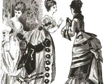 Godey Bustle Back Dress Pattern