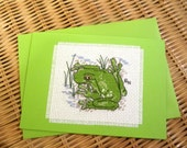 Hand cross stitched Australian native fauna card - Green Tree Frog.  Green card with matching envelope and  white paper insert.