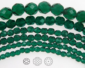 8mm (51pcs) Emerald, Czech Fire Polished Round Faceted Glass Beads, 16 inch strand