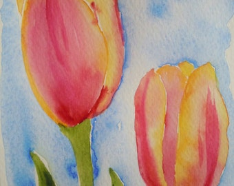 Two Peach Tulips Watercolor Notecard