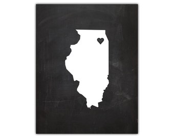 Printable state silhouette print - chalkboard state wall art - state silhouette - illinois state art - state art print - instant download
