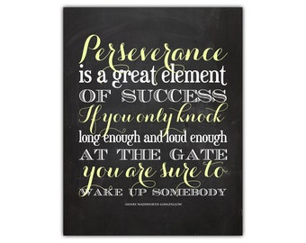 Inspirational quote printable perseverance motivational wall decor quote print home office print college dorm room decor chalkboard wall art
