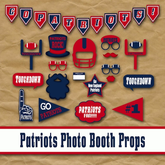 New England Patriots Football Printable Photo Booth Props