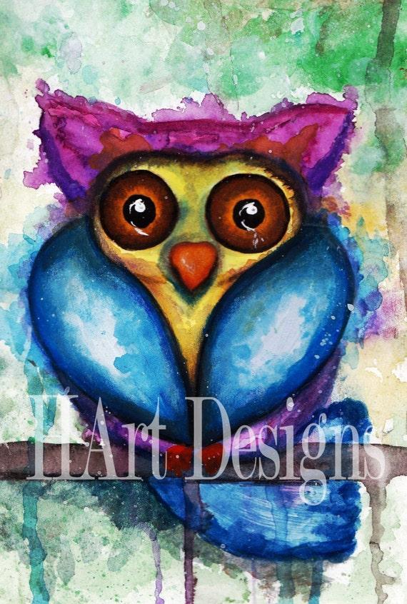 Items similar to abstract watercolor owl big eyes ...
