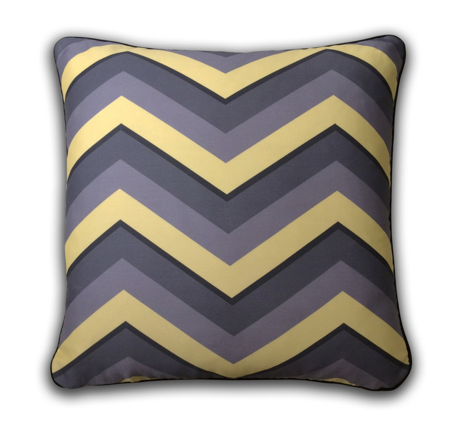 Gray and Yellow Chevron Decorative Pillow by FoxgloveSonoma