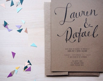modern hand lettered custom calligraphy wedding invitation // THE SCRIPT // kraft paper bohemian wedding invitation // DEPOSIT