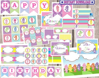 Care Bears Party Package, SALE Instant Download, girl party, pink and purple, cupcake toppers, birthday signs, tags, blank cards