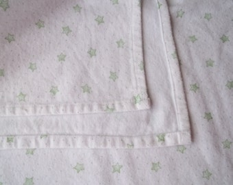 Large Flannel Receiving Blanket - Green Stars