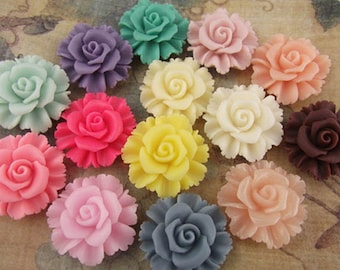 12pcs  Resin flower cabochon for Pendant Charm Craft Jewelry.