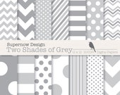 """FREE COMMERICAL use Grey Digital Paper Pack. """"Two Shades of Grey"""" Mixed Grey Scrapbooking Paper. Chevrons, Polka Dots, Stripes."""