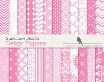 """FREE COMMERICAL use 40% Off Pink Digital Papers. 24 Pink Scrapbooking Papers. """"Besty Papers"""" 12"""" x 12"""" 300dpi."""