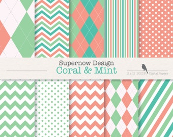 """FREE COMMERICAL use Argyle Digital Paper Pack. """"Coral & Mint"""" Scrapbooking Papers. Golf , Green, Chevron, Stripe, Polka Dots."""