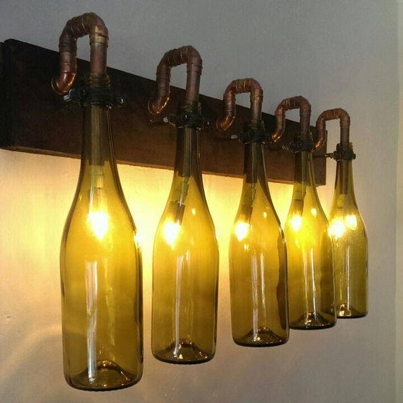 Unique handmade wine bottle wall light with wooden base and